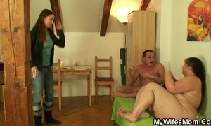 Busty mother-in-law gives up her twat