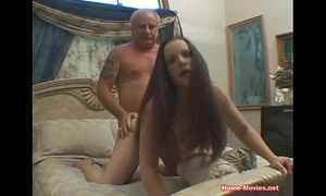Brunette nailed hard by old rod