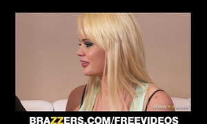 Fit golden-haired floozy alexis ford is interviewed and double teamed
