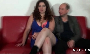 Chubby french dilettante brunette hair hard screwed in front of her cuckhold spouse