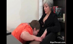 Slutty milf gives oral pleasure to lustful young