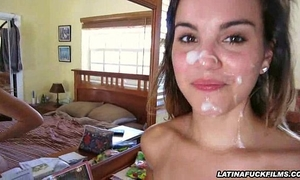 Latina nympho receives a super creamy facial