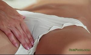 Blonde masseur fingers dark brown customer