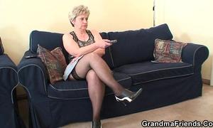 Grandma takes 2 schlongs after masturbation