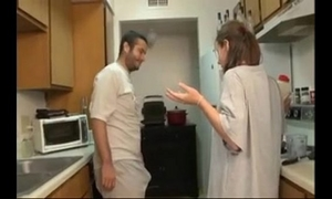 Brother and sister oral-service in the kitchen