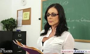 Brunette teacher kendra longing receives facialized