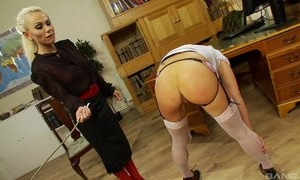 Nice lesbian BDSM fetish spanking experience, hot lesbians in stoclokgs spanking each other till orgasm