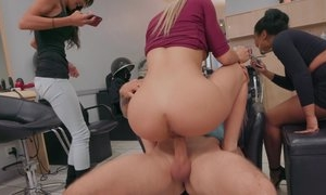 Kinky bitch fucks tattooed guy right in front of his wife