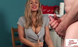 Busty british voyeur instructing dude with joi