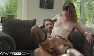 Blindfolded wife in stockings gets fucked by perverted old man