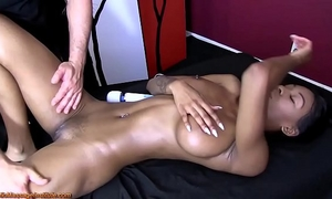 Sexy exotic woman acquires erotic massage and pleased ending
