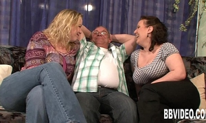 Two breasty slags share a hard prick