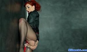 Bukkake redhead widens wet crack at gloryhole