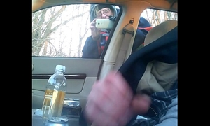 Cought wanking my dick and this babe spies in car