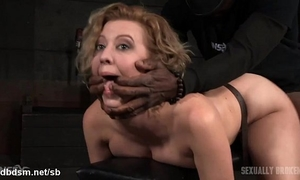 Atrocious doggy style banging for hawt thrall whilst this babe gives juicy deepthroating