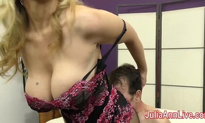 Milf julia ann teases thrall with her feet!