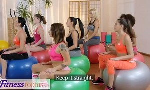 Fitness rooms gym milf and students have moist lesbo interracial three-some