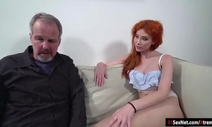 Russian redhead gisha forza gives bj to n drilled by old stud